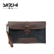 купить YIZHI 2018 Business Men's Briefcase High-quality PU Leather Two Color Optional Hasp Opening Method дешево
