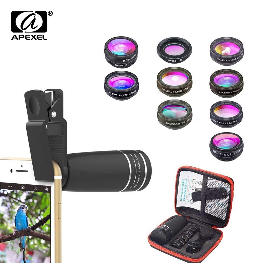 APEXEL 10 in 1 Mobiele telefoon Lens Tele Fisheye lens Groothoek Macro Lens + CPL/Flow/Radial /Star Filter voor alle smartphones