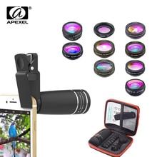 APEXEL 10 in 1 handy Objektiv Tele Fisheye Weitwinkel Makro Objektiv + CPL/Fluss/Radial /sterne Filter für alle smartphones
