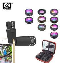 Apexel lente telephoto para celular 10 em 1, lente olho de peixe, ângulo aberto, lente macro + cpl/fluxo/radial filtro de estrela para todos os smartphones