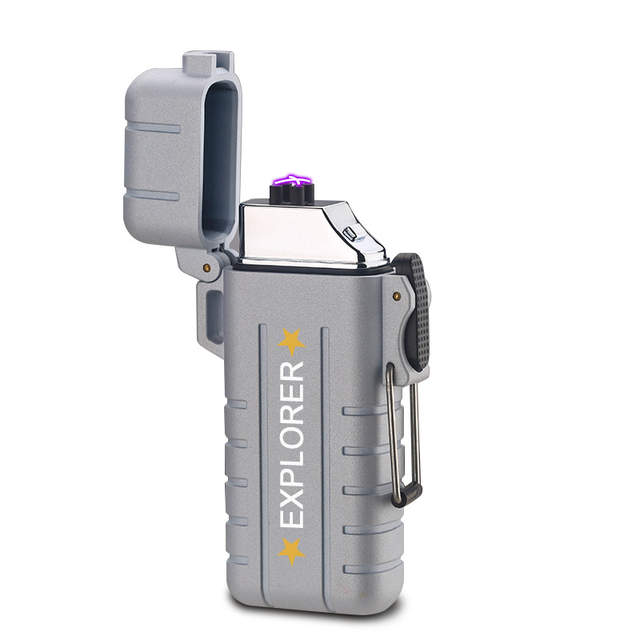 Us 765 49 Offoutdoor Waterproof Double Arc Impulse Lighter Metal Case Windproof Usb Charging Electronic Pipe Lighter Plasma Cigar Lighters In