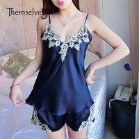 Rayon Pajamas For Women Imitated Silk Pajamas Sleepwear Pyjamas Women Strap Satin Lace Patchwork Embroidery Pajamas