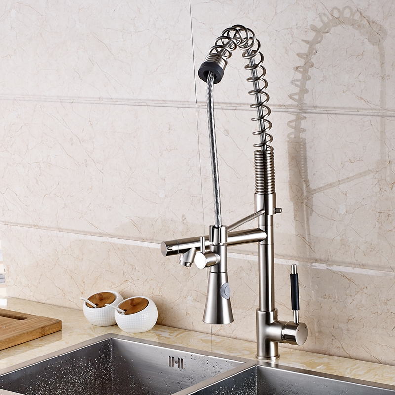 Large Spring Single Handle Kitchen Faucet Dual Swivel Spout Vessel Mixer Tap New golden brass kitchen faucet dual handles vessel sink mixer tap swivel spout w pure water tap