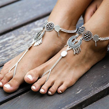 Vintage Antique Silver Retro Coin Anklets For Women Yoga Ankle Bracelet Sandals Brides Shoes Barefoot Beach Gifts 1028