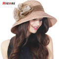 2016 New Casual Elegant Women's Beach Cap Sun Hat Summer Fold Straw Cap Fashion Hats 2016 Ladies Flower Hats Chapeu Feminino