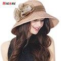 2016 Nueva Casual Elegante de Las Mujeres Casquillo de la Playa Sol Sombrero de Verano Fold Straw Cap Sombreros de Moda 2016 Señoras de La Flor Sombreros Chapeu Feminino