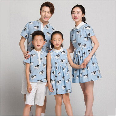 2015 mother daughter matching dresses family cloth...