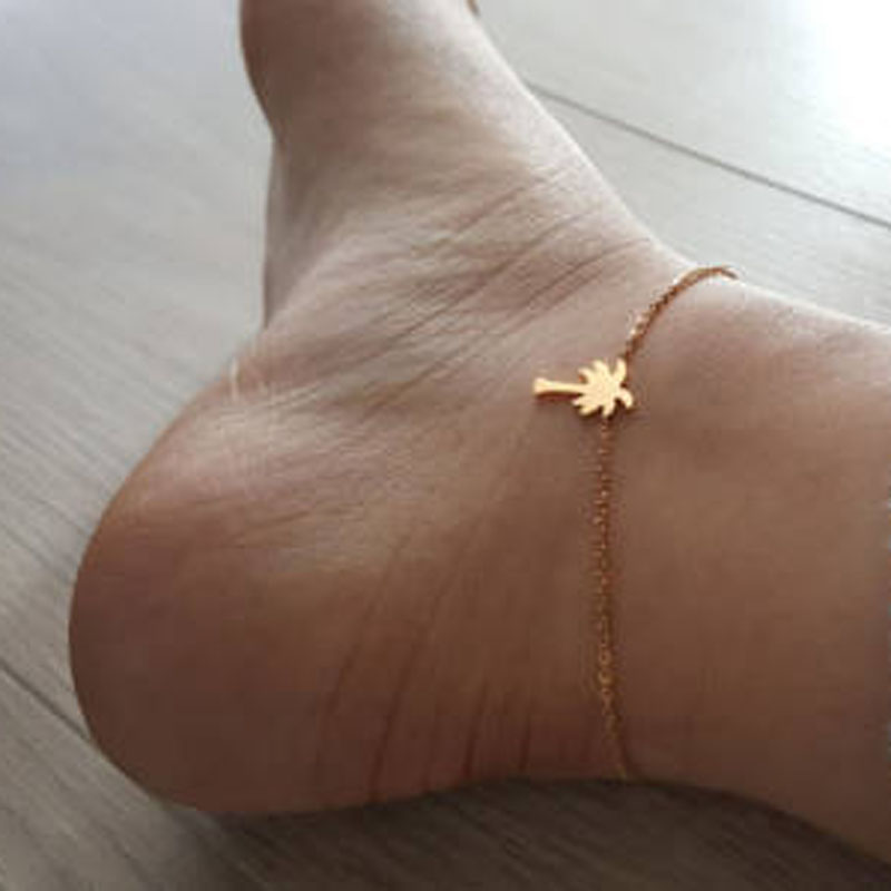 2017 Hawaii Beach Party Jewelry Palm Tree Anklet Charm Women Leg Chain Summer Sandal Barefoot Anklets Bracelets Foot Accesories
