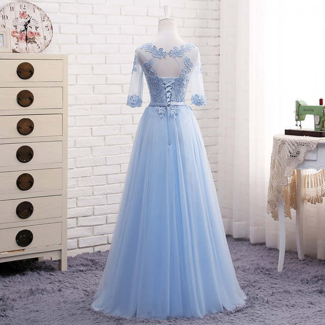 placeholder MNZ609 Lace up Bridesmaid Dresses Long 2018 new gray champagne  Sister group gown host party 0c5993893c43