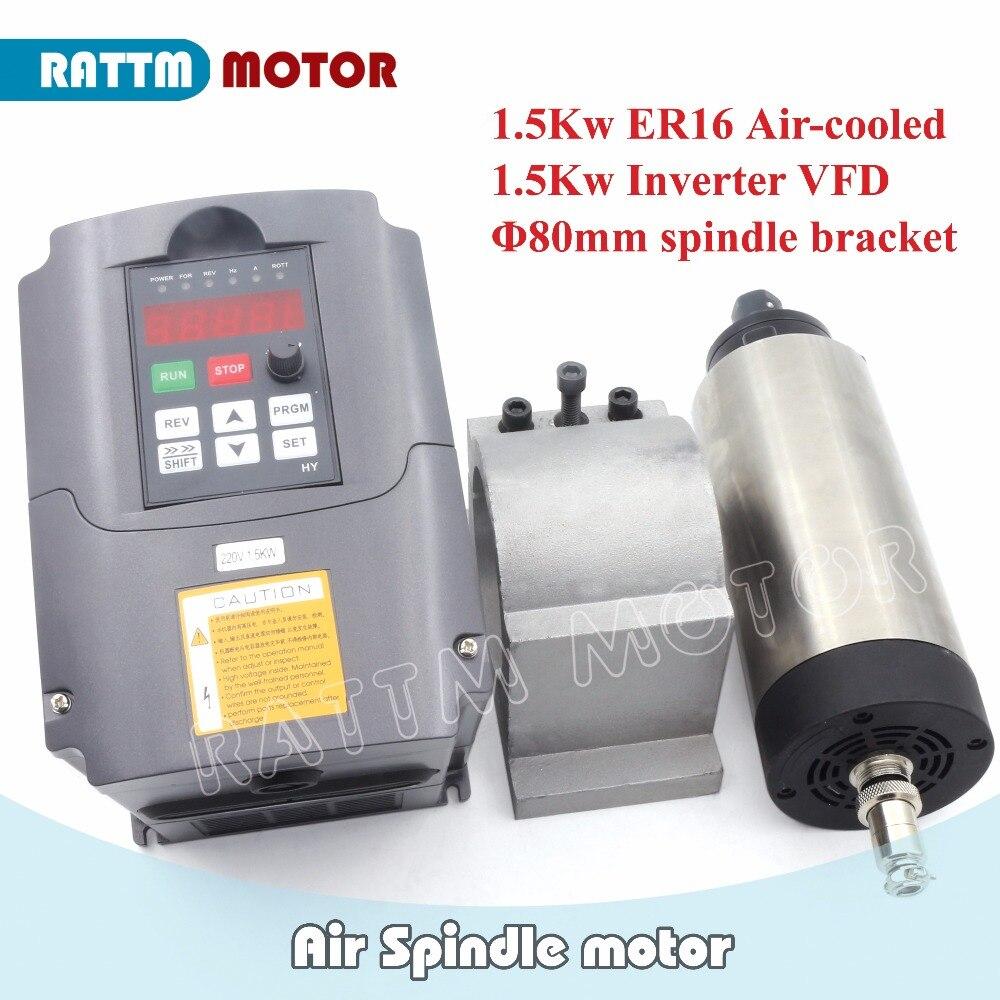 EU/ RU/USA Delivery! 1.5KW 220V Air-cooled ER16 spindle motor 24000rpm 4 bearing & 1.5kw Inverter 2HP 220V & 80mm Fixing spindle