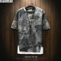plus size 5XL men personality t shirts short sleeve Camouflage summer high street t shirts hipster geometric letter tees tops 50