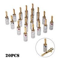 20 штук 4 мм аудио кабель прочный алюминиевый Адаптеры для сим-карт комплект банан музыкальный Динамик кабель Вилки серебряная крышка Позоло...