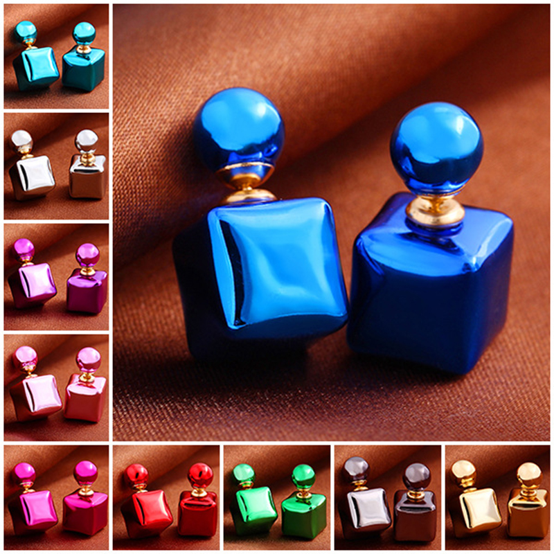 2 Double Side Simulated Pearl Balls Stud Earrings For Women Fashion Candy Colors Female Pusety Earring Girls Ear Jewelry ED136