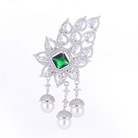 Hot Trendy Jewelry Shining Zircon Flower Charms For Jewelry Making Big Micro Pave Craft Pearl Floating