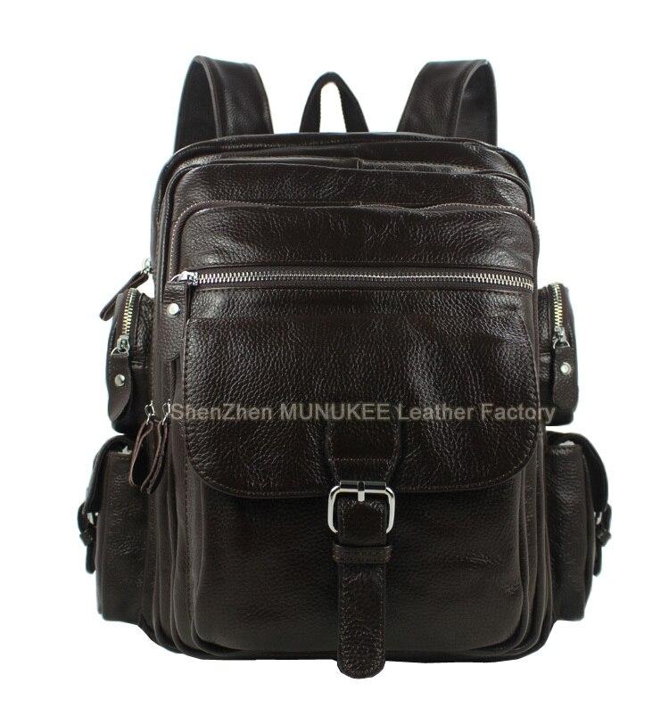 2018 Fashion Genuine Leather Backpack Men Rucksack Men travel backpack  School Backpack Laptop Bag knapsack male Brown Black 75ac397161148
