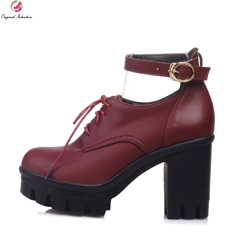 Original Intention Design Women Ankle Boots Round Toe Square Heels Boots Elegant Black Wine Red Blue Shoes Woman US Size 4-10.5