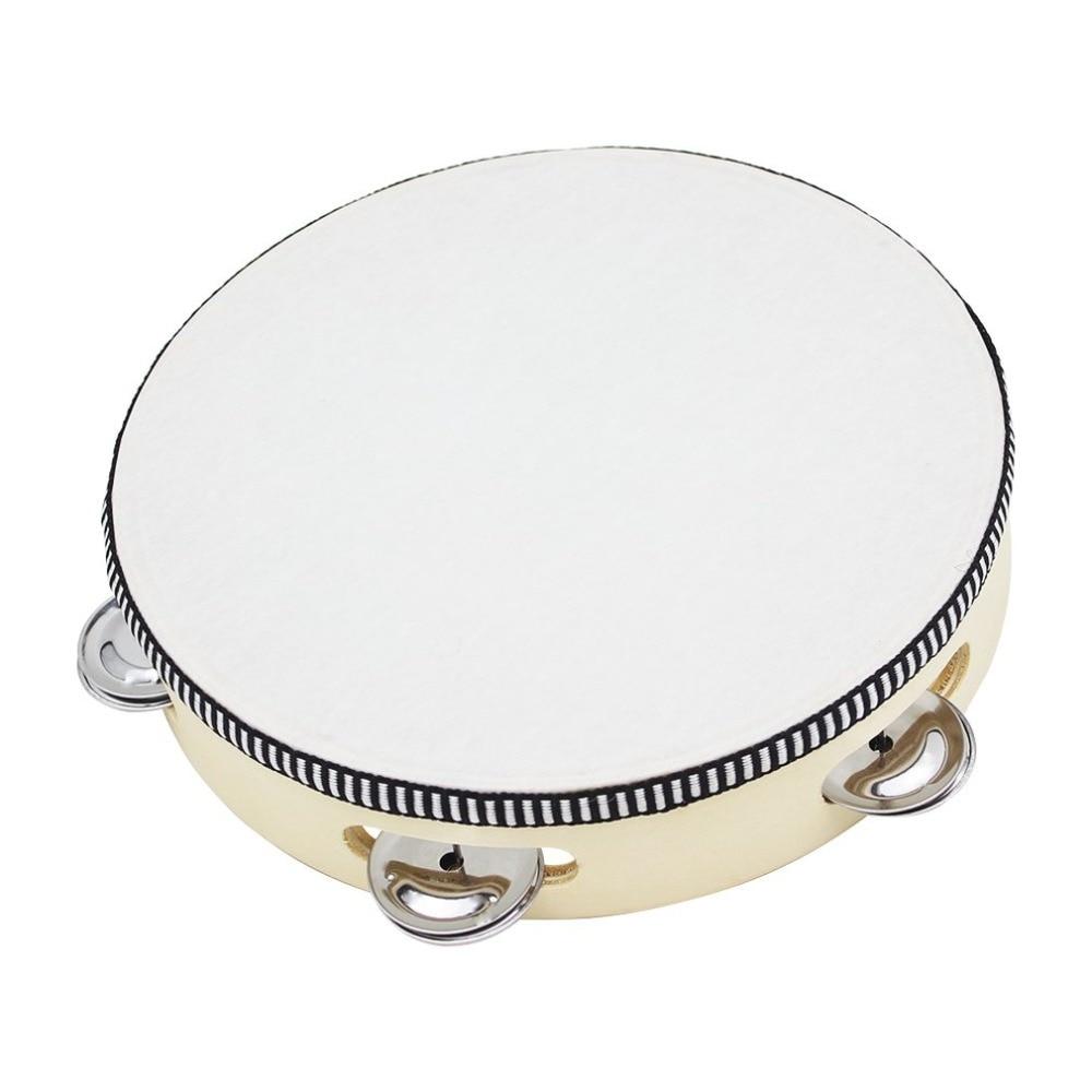Madera redonda mano pandereta con campana para niños educación Musical  juguete instrumentos de percusión 1e134db3959b