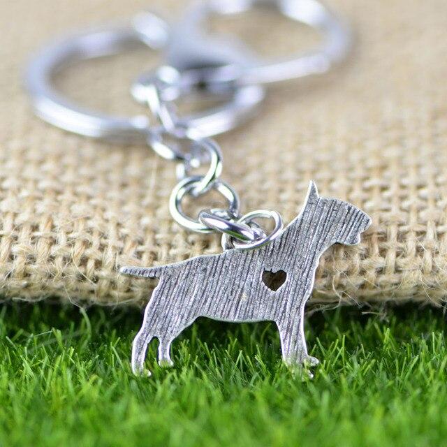 Bull Terrier llavero Animal del perro de la joyería estilo plata de ...
