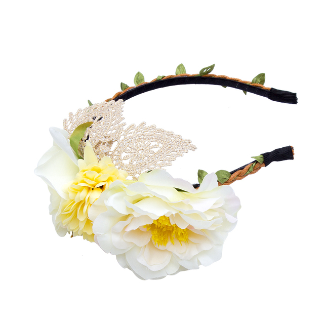 2017 Lace Flower Crown Beach Wedding Flower Headband Hair Wreath Head Women New Flower Garland Floral Bride Headband Hairband