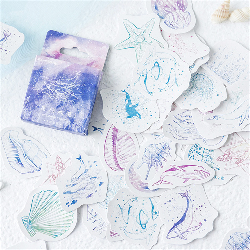 45 Pcs/box Star Sea Kawaii Paper Stickers Diary Decoration Diy Scrapbooking Label Seal Hand Account Sticker Stationery