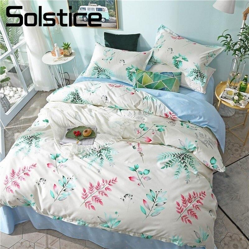 Solstice Home Textile White Light Blue Bedding Set Girl Teen Adult Linen Leaf Branch Duvet Cover Pillowcase Bed Sheet King Queen