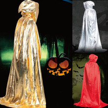 Halloween Party Stage Costume Metallic Cloak Cape Hooded Cosplay