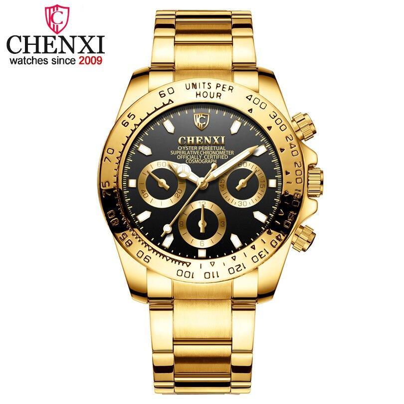 1ec1b92f5f9 CHENXI Masculino Ouro Relógios Casuais relógio de Quartzo Relógio de Pulso  Para Homens Marca de Luxo