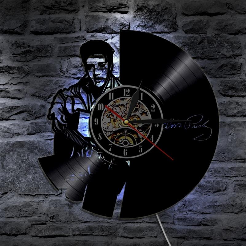 The King Of Rock Elvis Presley Wall Clock Modern Design Music Theme Vinyl Record Clocks 7 Colors Change Wall Watch Home Decor