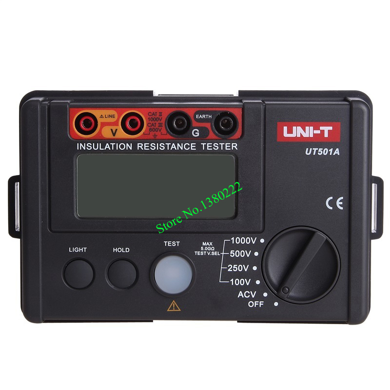 UNI-T UT501A 100V--1000V megger Insulation earth ground resistance meter Tester Megohmmeter Voltmeter w/LCD Backlight Display uni t ut206a 1000a digital clamp meters earth ground megohmmeter multimeter voltage current resistance insulation tester