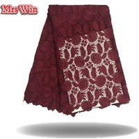 Wine Red Lace High Quality African Lace Fabric China Factory Offer Polyester Water Soluble African Lace
