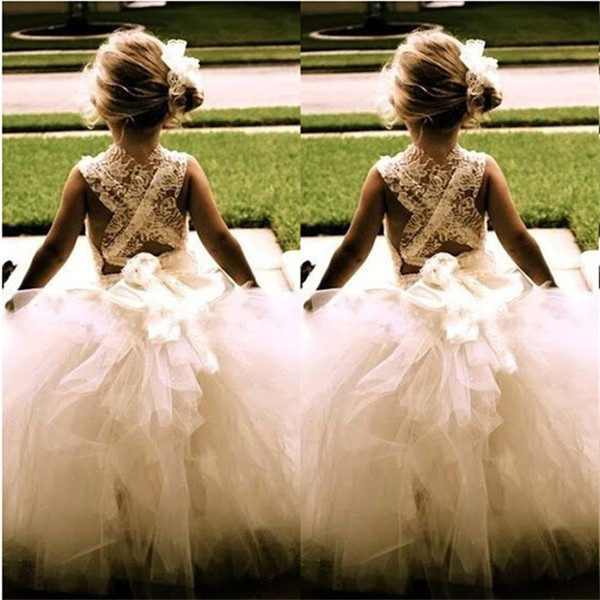 2019   Flower     Girl     Dresses   for Wedding Sleeveless Tulle Party Birthday Communion Pageant   Dress   Little   Girls   Kids Children Tutu