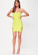 2018 summer women dress wholesale lime green strapless lace up bandage dress  party dress dropshipping( a42d66468b09