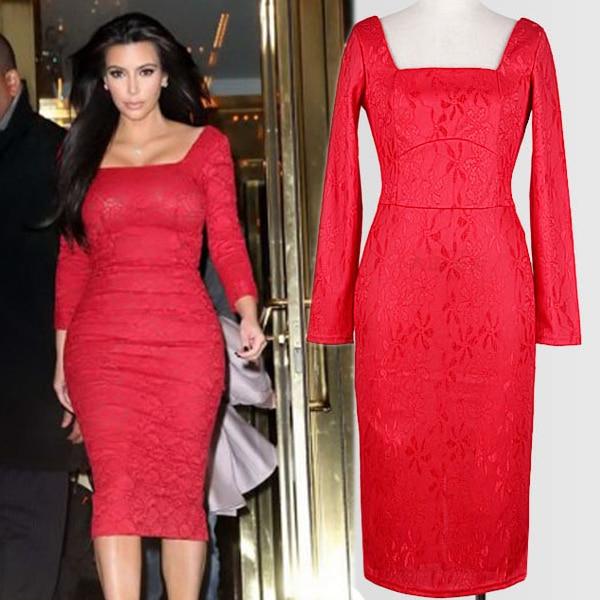 140ef23d3 Vestido de renda floral de manga comprida vestido vermelho vestidos de  festa mulher vestido ropa mujer