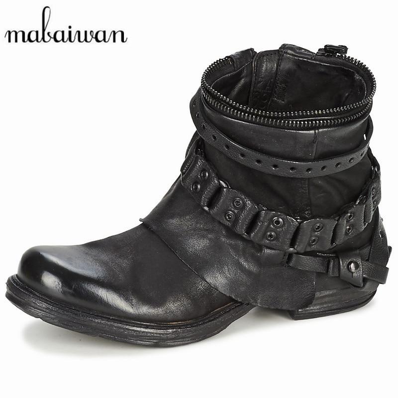 Mabaiwanแฟชั่นสีดำสีม่วงผู้หญิงหนังแท้รองเท้าข้อ
