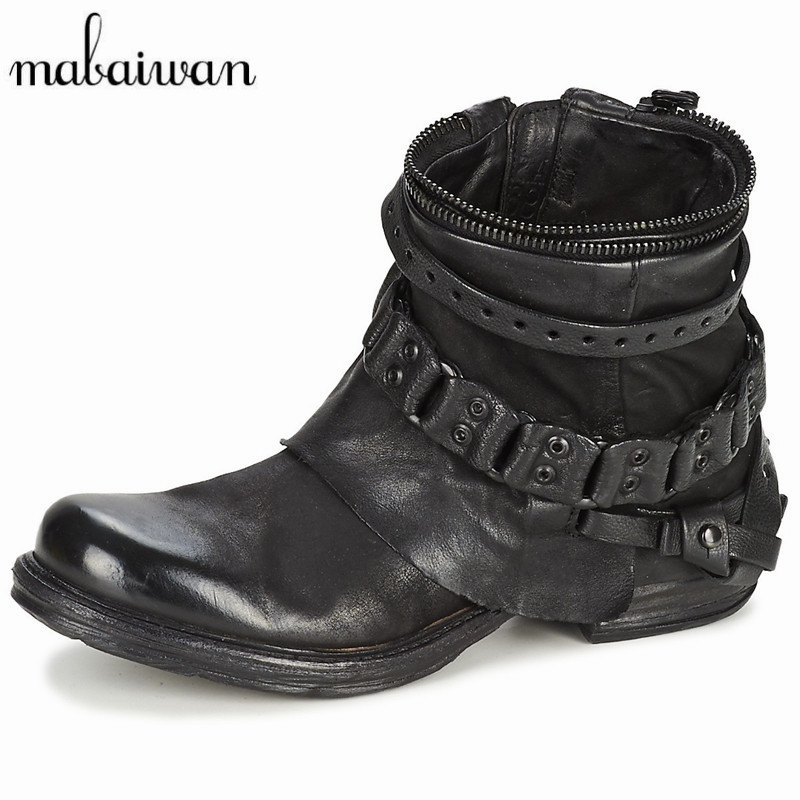 Mabaiwan Fashion Black Purple Women Genuine Leather Ankle Boots Chain Decor Punk Style Motorcycle Booties Flat Botas Militares mabaiwan autumn women ankle boots genuine leather side zipper flat booties botas militares martin boots winter botines mujer