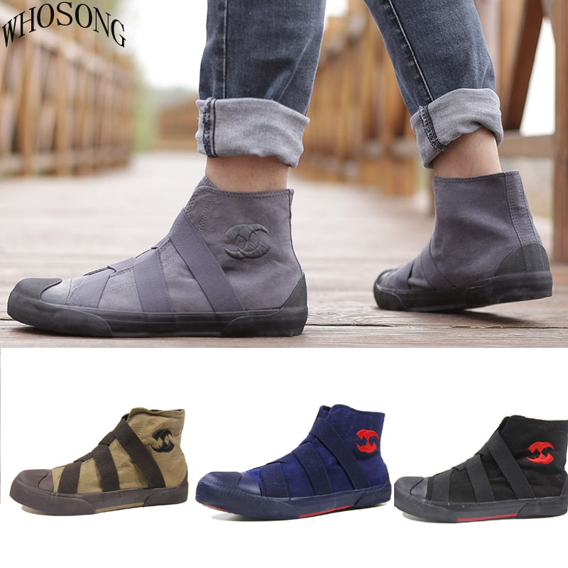 WHOSONG Men'S Canvas Shoes Spring Autumn 2019 The New Lace up High Style Men  Vulcanize Shoes