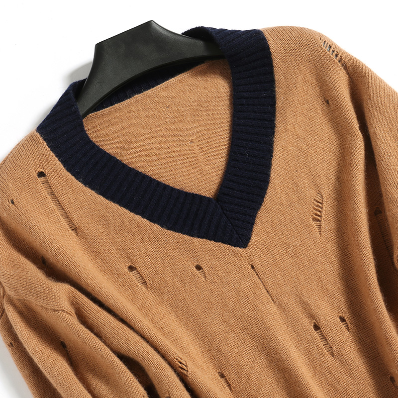 Vêtements Chandails V Surdimensionné blanc 100 Pulls Nouvelle hongtuo Hiver Noir Et Femme Hauts Standards Tricoté 2018 Cachemire Col qvw7YxxT