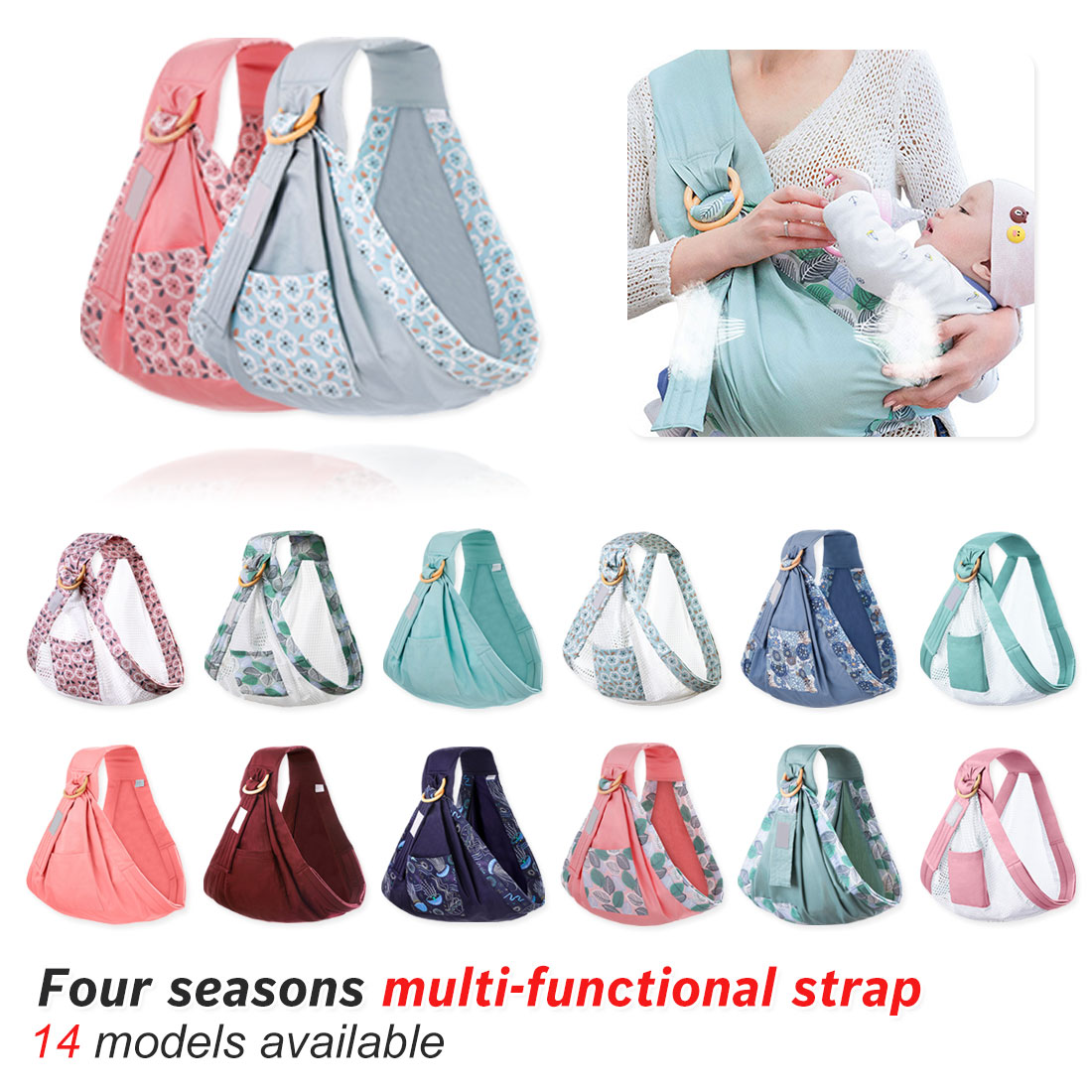 Breastfeeding Carrier Baby Wrap Carrier Newborn Sling Dual Use Infant Nursing Cover Carrier Up To 130 Lbs (0-36M)