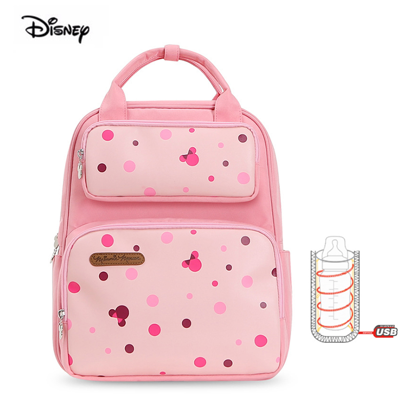 Disney Original Brand Mother Bag For Babies USB Heating Multifunctional Large Capacity Diaper Backpack For Travel