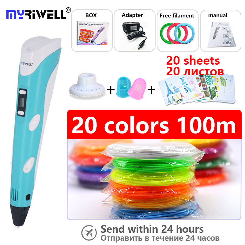 Myriwell 3d penna stampante 3d penna con trasporto e 20 colori 1.75mm filamento abs e modello e il Dito manica e supporto per la penna