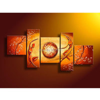 Hand Made Modular Paintings Multi Panel Cancas Wall Art Orange Yellow Figure Oil Painting Home