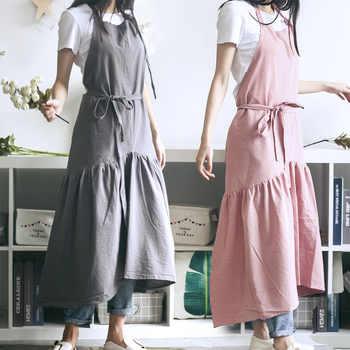 Brief Nordic Wind Mermaid Fairy Cotton Linen Cooking Kitchen Apron For Woman dress flower Shop smock Hairdresser bib Custom Logo - Category 🛒 Home & Garden