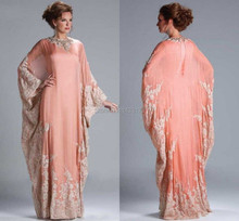 Caftan Evening Gowns Beaded Lace Jewel Neckline Edges Chiffon Appliqued Long Vestidos Arabic Dress With Sleeve