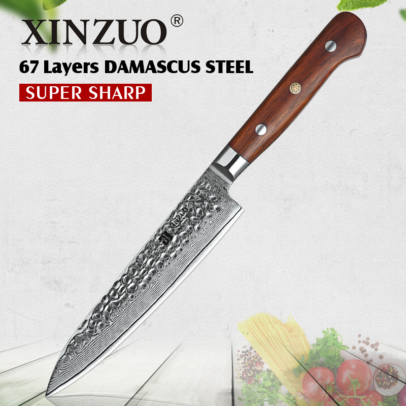 XINZUO 6'' Inch Utility Knife Damascus Steel Kitchen Knives Paring Stainless Steel Peeling Knife Sharp Cutlery Rosewood Handle