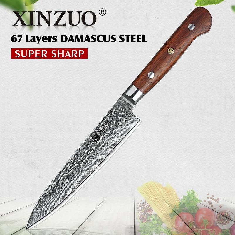 XINZUO 6 'インチのユーティリティナイフダマスカス鋼包丁果物ステンレス鋼剥離ナイフシャープカトラリーローズウッドハンドル  グループ上の ホーム&ガーデン からの キッチンナイフ の中 1
