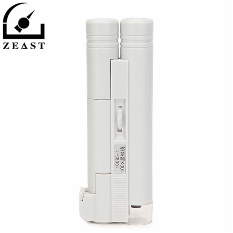MG10085-1 100X LED Portable Adjustable Dual-tube Microscope Illuminated Magnifier Loupe Measurement Range 0-2cm