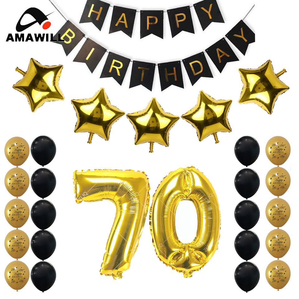 Amawill 70th Birthday Party Decoration Kit Happy Banner Gold Black Balloon Perfect 70 Years Old Supplies 75D In Ballons Accessories From