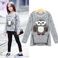 Girls Fleece Lined Zipper sweater Cartoon Cute Owl Casual Cotton Girls Winter Clothes girls sweater for 6 7 8 9 10 years