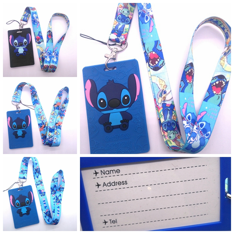 5  Pcs Cartoon Stitch  Named Card Holder Identity Badge With Lanyard Neck Strap Card Bus ID Holders With Key Chain G