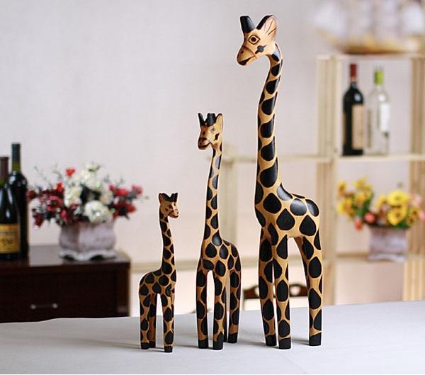 3 Teile/beutel Holzschnitzerei Handwerk Kreative Hauptlieferung Artikel Giraffe Holz Giraffe Innenausstattung Dekorationen Haus & Garten
